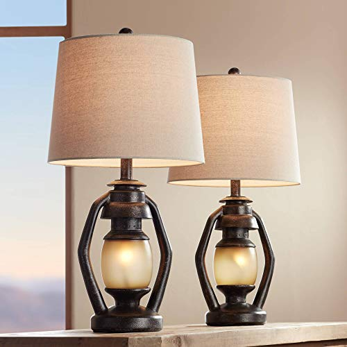 Horace Rustic Farmhouse Table Lamps Set, Rustic Lamps For Living Room