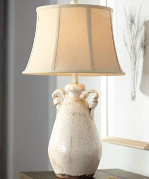 Isabella Cottage Accent Table Lamp Rustic Ivory Ceramic Milk Jar Crackle Beige Bell Shade For Living Room Family Bedroom Regency Hill 0 300x360