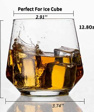 JBHO Durability Whiskey Glasses Set Of 4 1285 Ounce Rock Glasses Non Lead Crystal Glass Value For Money Elegant Cocktail Glasses With Gift Box 0 0 300x360