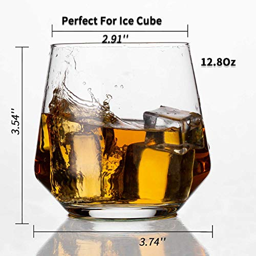 JBHO Durability Whiskey Glasses Set Of 4 1285 Ounce Rock Glasses Non Lead Crystal Glass Value For Money Elegant Cocktail Glasses With Gift Box 0 0