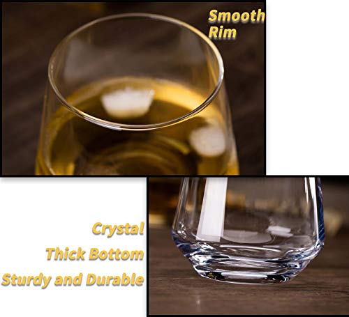 JBHO Durability Whiskey Glasses Set Of 4 1285 Ounce Rock Glasses Non Lead Crystal Glass Value For Money Elegant Cocktail Glasses With Gift Box 0 1