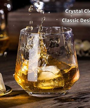 JBHO Durability Whiskey Glasses Set Of 4 1285 Ounce Rock Glasses Non Lead Crystal Glass Value For Money Elegant Cocktail Glasses With Gift Box 0 2 300x360