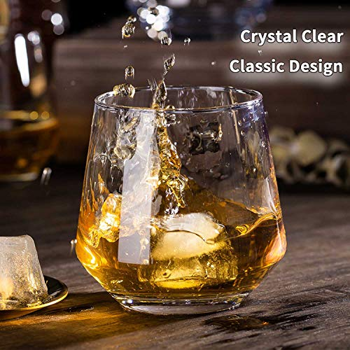 JBHO Durability Whiskey Glasses Set Of 4 1285 Ounce Rock Glasses Non Lead Crystal Glass Value For Money Elegant Cocktail Glasses With Gift Box 0 2
