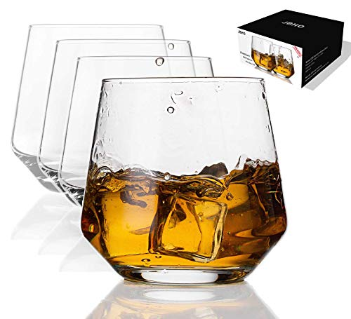 JBHO Durability Whiskey Glasses Set Of 4 1285 Ounce Rock Glasses Non Lead Crystal Glass Value For Money Elegant Cocktail Glasses With Gift Box 0