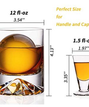 JBHO Hand Blown Crystal Double Old Fashioned Cocktail Solid Whiskey Glasses Rocks Glasses Lowball Glasses 12 Ounce Set Of 2 Perfect Size For Oversized Ice Cubes Extra 15 Ounce Shot Glasses 0 0 300x360