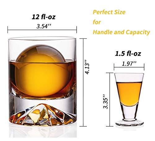 JBHO Hand Blown Crystal Double Old Fashioned Cocktail Solid Whiskey Glasses Rocks Glasses Lowball Glasses 12 Ounce Set Of 2 Perfect Size For Oversized Ice Cubes Extra 15 Ounce Shot Glasses 0 0