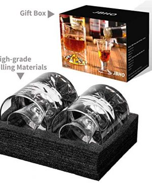 JBHO Hand Blown Crystal Double Old Fashioned Cocktail Solid Whiskey Glasses Rocks Glasses Lowball Glasses 12 Ounce Set Of 2 Perfect Size For Oversized Ice Cubes Extra 15 Ounce Shot Glasses 0 1 300x360