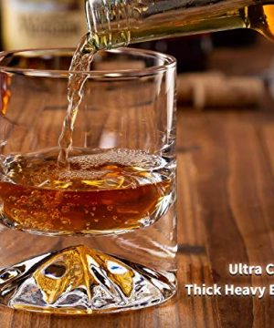 JBHO Hand Blown Crystal Double Old Fashioned Cocktail Solid Whiskey Glasses Rocks Glasses Lowball Glasses 12 Ounce Set Of 2 Perfect Size For Oversized Ice Cubes Extra 15 Ounce Shot Glasses 0 2 300x360