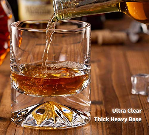 JBHO Hand Blown Crystal Double Old Fashioned Cocktail Solid Whiskey Glasses Rocks Glasses Lowball Glasses 12 Ounce Set Of 2 Perfect Size For Oversized Ice Cubes Extra 15 Ounce Shot Glasses 0 2