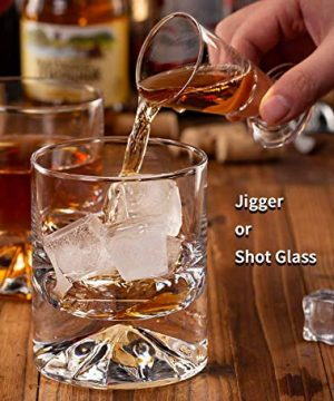 JBHO Hand Blown Crystal Double Old Fashioned Cocktail Solid Whiskey Glasses Rocks Glasses Lowball Glasses 12 Ounce Set Of 2 Perfect Size For Oversized Ice Cubes Extra 15 Ounce Shot Glasses 0 4 300x360