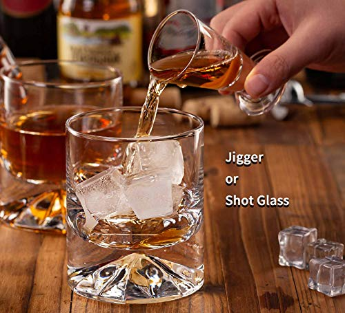 JBHO Hand Blown Crystal Double Old Fashioned Cocktail Solid Whiskey Glasses Rocks Glasses Lowball Glasses 12 Ounce Set Of 2 Perfect Size For Oversized Ice Cubes Extra 15 Ounce Shot Glasses 0 4