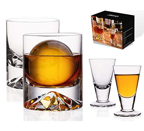 JBHO Hand Blown Crystal Double Old Fashioned Cocktail Solid Whiskey Glasses Rocks Glasses Lowball Glasses 12 Ounce Set Of 2 Perfect Size For Oversized Ice Cubes Extra 15 Ounce Shot Glasses 0