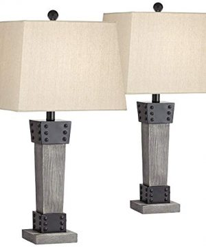 Jacob Modern Farmhouse Table Lamps Set Of 2 LED Gray Wood Dark Metal Tapering Rectangular Shade For Living Room Bedroom Bedside Nightstand Office Family John Timberland 0 300x360