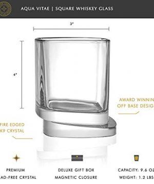 JoyJolt Aqua Vitae Premium Whiskey Glass Set Of 2 Square Whiskey Glasses With Off Set Base Old Fashioned Rocks Glasses For Scotch And Bourbon Whiskey Tumbler Gifts For Men 0 0 300x360