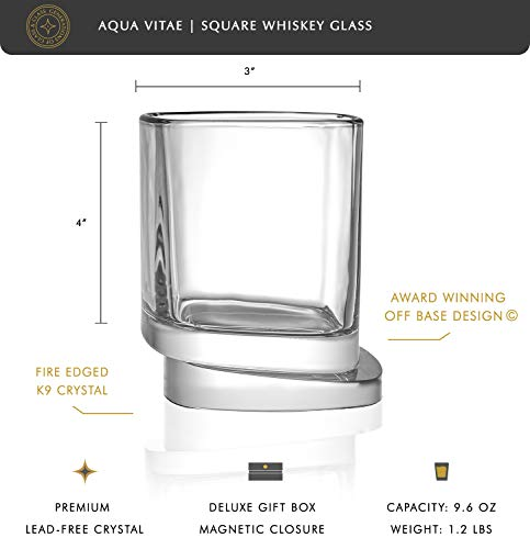 JoyJolt Aqua Vitae Premium Whiskey Glass Set Of 2 Square Whiskey Glasses With Off Set Base Old Fashioned Rocks Glasses For Scotch And Bourbon Whiskey Tumbler Gifts For Men 0 0