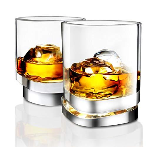 JoyJolt Aqua Vitae Premium Whiskey Glass Set Of 2 Square Whiskey Glasses With Off Set Base Old Fashioned Rocks Glasses For Scotch And Bourbon Whiskey Tumbler Gifts For Men 0