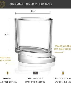 JoyJolt Aqua Vitae Whiskey Glass Set Of 2 Round Whiskey Glasses With Off Set Base Old Fashioned Rocks Glasses For Scotch And Bourbon Unique Whiskey Tumbler Gifts For Men 0 0 300x360