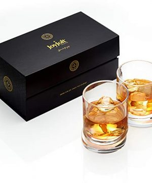 JoyJolt Aqua Vitae Whiskey Glass Set Of 2 Round Whiskey Glasses With Off Set Base Old Fashioned Rocks Glasses For Scotch And Bourbon Unique Whiskey Tumbler Gifts For Men 0 1 300x360