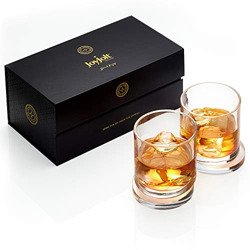 JoyJolt Aqua Vitae Whiskey Glass Set Of 2 Round Whiskey Glasses With Off Set Base Old Fashioned Rocks Glasses For Scotch And Bourbon Unique Whiskey Tumbler Gifts For Men 0 1