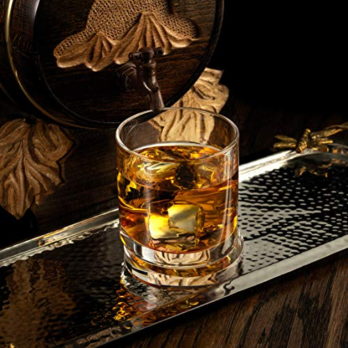 JoyJolt Aqua Vitae Whiskey Glass Set Of 2 Round Whiskey Glasses With Off Set Base Old Fashioned Rocks Glasses For Scotch And Bourbon Unique Whiskey Tumbler Gifts For Men 0 2