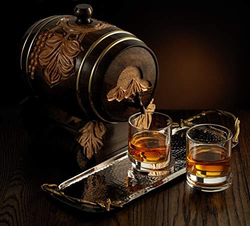 JoyJolt Aqua Vitae Whiskey Glass Set Of 2 Round Whiskey Glasses With Off Set Base Old Fashioned Rocks Glasses For Scotch And Bourbon Unique Whiskey Tumbler Gifts For Men 0 4