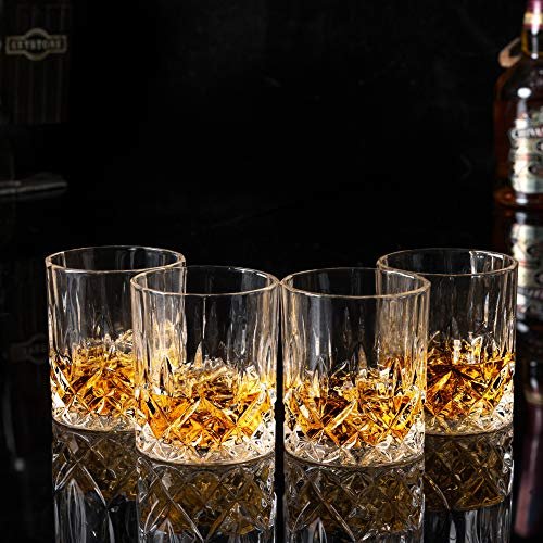 KANARS Old Fashioned Whiskey Glasses With Luxury Box 10 Oz Rocks Barware For Scotch Bourbon Liquor And Cocktail Drinks Set Of 4 0 0