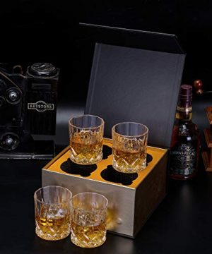 KANARS Old Fashioned Whiskey Glasses With Luxury Box 10 Oz Rocks Barware For Scotch Bourbon Liquor And Cocktail Drinks Set Of 4 0 3 300x360