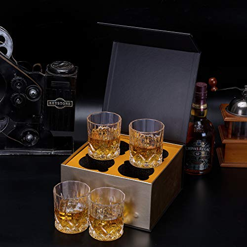 KANARS Old Fashioned Whiskey Glasses With Luxury Box 10 Oz Rocks Barware For Scotch Bourbon Liquor And Cocktail Drinks Set Of 4 0 3