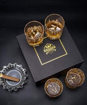 KANARS Old Fashioned Whiskey Glasses With Luxury Box 10 Oz Rocks Barware For Scotch Bourbon Liquor And Cocktail Drinks Set Of 4 0 4 300x360