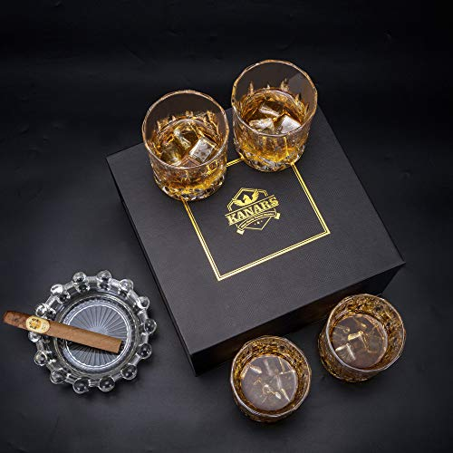 KANARS Old Fashioned Whiskey Glasses With Luxury Box 10 Oz Rocks Barware For Scotch Bourbon Liquor And Cocktail Drinks Set Of 4 0 4