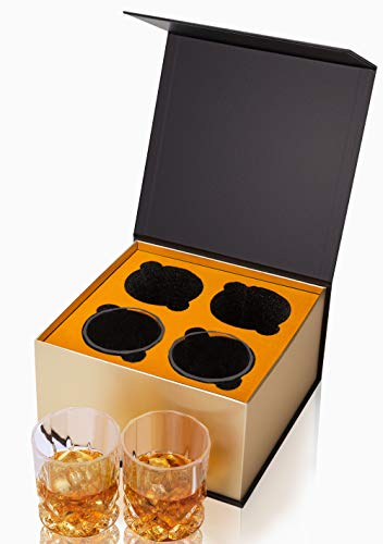 KANARS Old Fashioned Whiskey Glasses With Luxury Box 10 Oz Rocks Barware For Scotch Bourbon Liquor And Cocktail Drinks Set Of 4 0