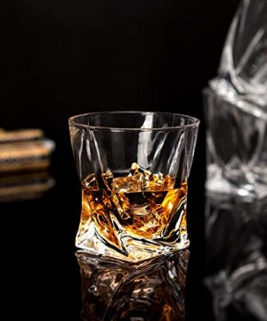 LANFULA Twisted Whiskey Glasses Set Of 4 Crystal Rocks Glassware And Old Fashioned Cocktail Tumbler For Bourbon Scotch Whisky Cognac 0 0 300x360