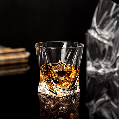 LANFULA Twisted Whiskey Glasses Set Of 4 Crystal Rocks Glassware And Old Fashioned Cocktail Tumbler For Bourbon Scotch Whisky Cognac 0 0