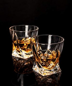 LANFULA Twisted Whiskey Glasses Set Of 4 Crystal Rocks Glassware And Old Fashioned Cocktail Tumbler For Bourbon Scotch Whisky Cognac 0 1 300x360
