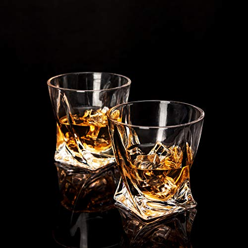 LANFULA Twisted Whiskey Glasses Set Of 4 Crystal Rocks Glassware And Old Fashioned Cocktail Tumbler For Bourbon Scotch Whisky Cognac 0 1