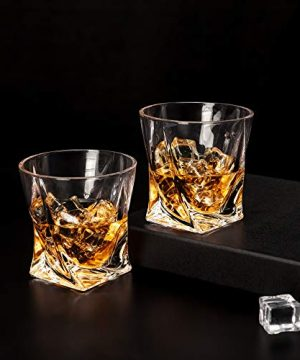 LANFULA Twisted Whiskey Glasses Set Of 4 Crystal Rocks Glassware And Old Fashioned Cocktail Tumbler For Bourbon Scotch Whisky Cognac 0 2 300x360