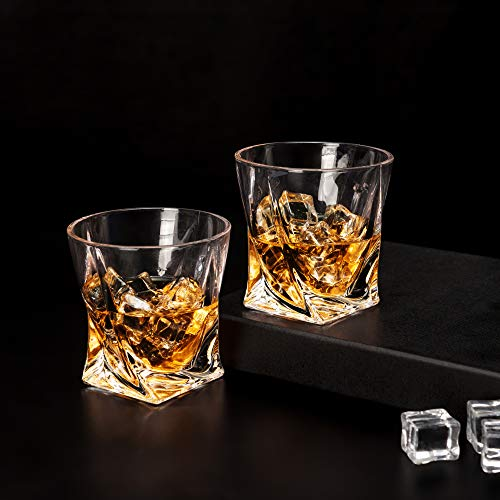 LANFULA Twisted Whiskey Glasses Set Of 4 Crystal Rocks Glassware And Old Fashioned Cocktail Tumbler For Bourbon Scotch Whisky Cognac 0 2