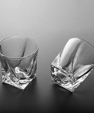 LANFULA Twisted Whiskey Glasses Set Of 4 Crystal Rocks Glassware And Old Fashioned Cocktail Tumbler For Bourbon Scotch Whisky Cognac 0 3 300x360