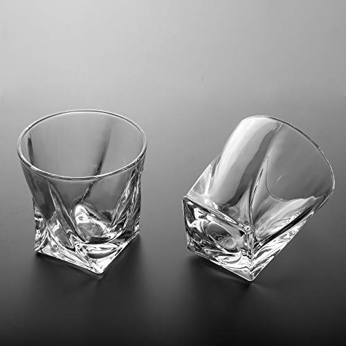 LANFULA Twisted Whiskey Glasses Set Of 4 Crystal Rocks Glassware And Old Fashioned Cocktail Tumbler For Bourbon Scotch Whisky Cognac 0 3