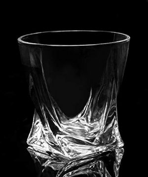 LANFULA Twisted Whiskey Glasses Set Of 4 Crystal Rocks Glassware And Old Fashioned Cocktail Tumbler For Bourbon Scotch Whisky Cognac 0 4 300x360