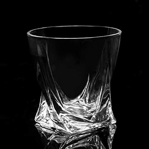 LANFULA Twisted Whiskey Glasses Set Of 4 Crystal Rocks Glassware And Old Fashioned Cocktail Tumbler For Bourbon Scotch Whisky Cognac 0 4