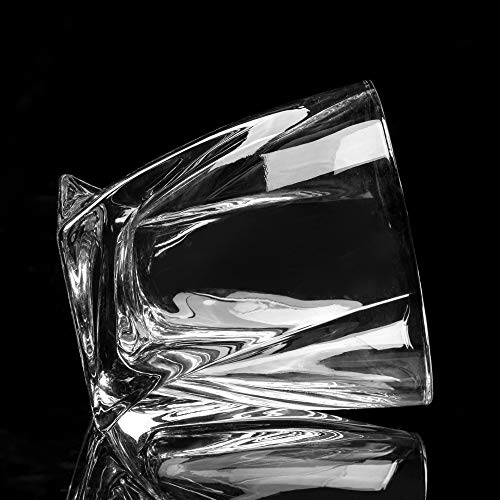 LANFULA Twisted Whiskey Glasses Set Of 4 Crystal Rocks Glassware And Old Fashioned Cocktail Tumbler For Bourbon Scotch Whisky Cognac 0 5