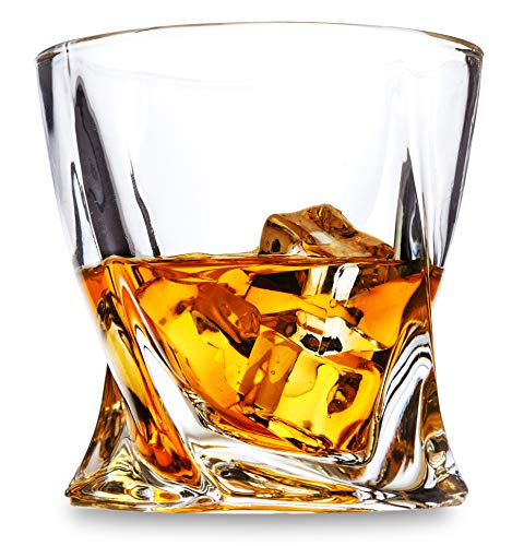LANFULA Twisted Whiskey Glasses Set Of 4 Crystal Rocks Glassware And Old Fashioned Cocktail Tumbler For Bourbon Scotch Whisky Cognac 0