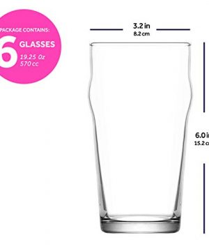 LAV Pint Glasses 6 Piece 19 Oz Beer Glass Set With Traditional British Pub Design Durable Craft Beer Ale Drinking Glasses Set Of 6 Lead Free Easy Stacking 0 3 300x360