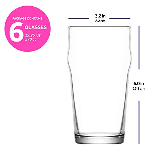 LAV Pint Glasses 6 Piece 19 Oz Beer Glass Set With Traditional British Pub Design Durable Craft Beer Ale Drinking Glasses Set Of 6 Lead Free Easy Stacking 0 3