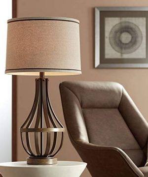 Louanne Industrial Farmhouse Table Lamp Oil Rubbed Bronze Light Wood Cage Burlap Linen Drum Shade For Living Room Bedroom Bedside Nightstand Office Family Franklin Iron Works 0 300x360