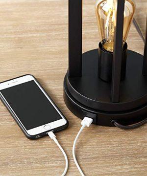 Marcel Modern Industrial Black Table Lamps Set Of 2 With Nightlight LED USB Port Linen Shade For Living Room Bedroom 360 Lighting 0 1 300x360