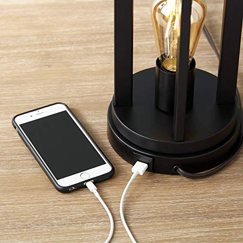 Marcel Modern Industrial Black Table Lamps Set Of 2 With Nightlight LED USB Port Linen Shade For Living Room Bedroom 360 Lighting 0 1