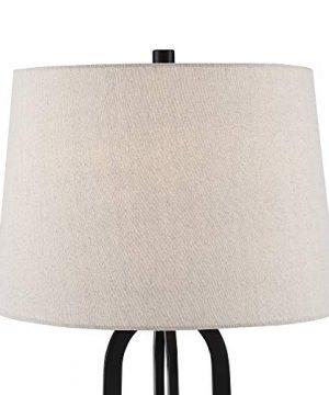 Marcel Modern Industrial Black Table Lamps Set Of 2 With Nightlight LED USB Port Linen Shade For Living Room Bedroom 360 Lighting 0 2 300x360