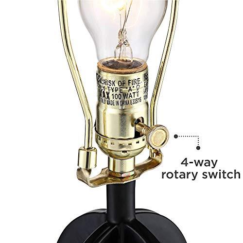 Marcel Modern Industrial Black Table Lamps Set Of 2 With Nightlight LED USB Port Linen Shade For Living Room Bedroom 360 Lighting 0 3